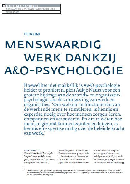 Menswaardig werk Psycholoog Aukje Nauta 2017